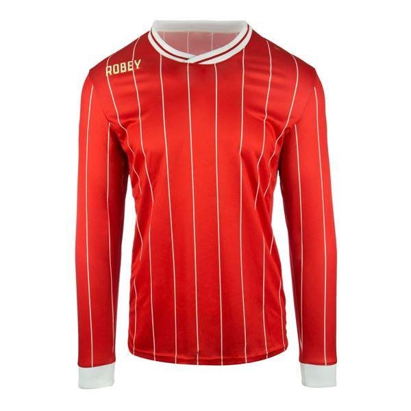 Afbeelding van Robey Pinstripe Voetbalshirt - Rood (Lange Mouwen)