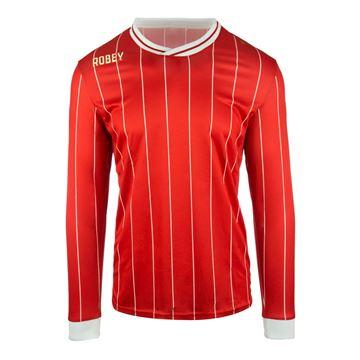 Afbeeldingen van Robey Pinstripe Voetbalshirt - Rood (Lange Mouwen) - Kinderen